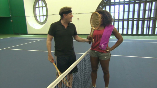 Piers plays tennis with Serena Williams