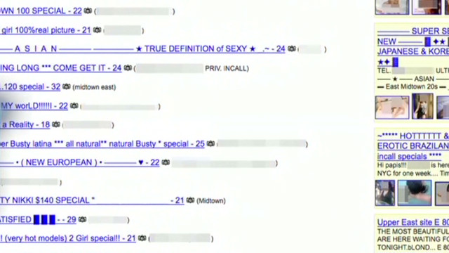 If you go to Backpage.com, you'll find sexual advertisements such as these.