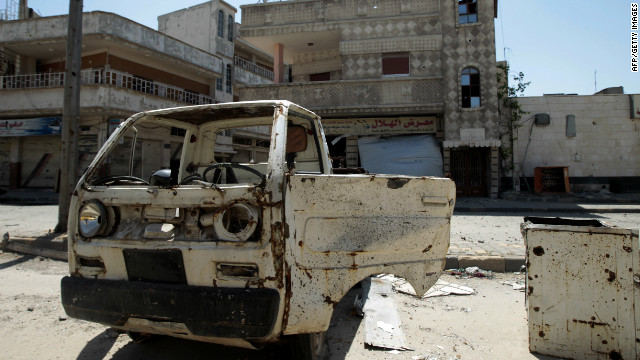 A destroyed car in the Bayyada district of the flashpoint Syrian city of Homs on May 5, 2012.