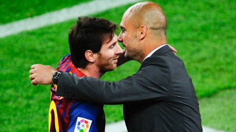 Lionel Messi of FC Barcelona (R) shakes hands with his Head coach Josep Guardiola of FC Barcelona after scoring his team's third goal during the La Liga match between FC Barcelona and RCD Espanyol at Camp Nou on May 5, 2012 in Barcelona, Spain. This is the last match as head coach of FC Barcelona for Josep Guardiola at the Camp Nou Stadium.