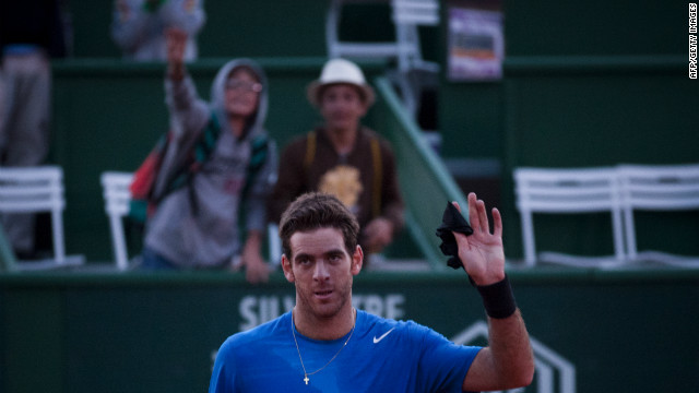 Juan Martin del Potro celebrates winning the Estoril Open