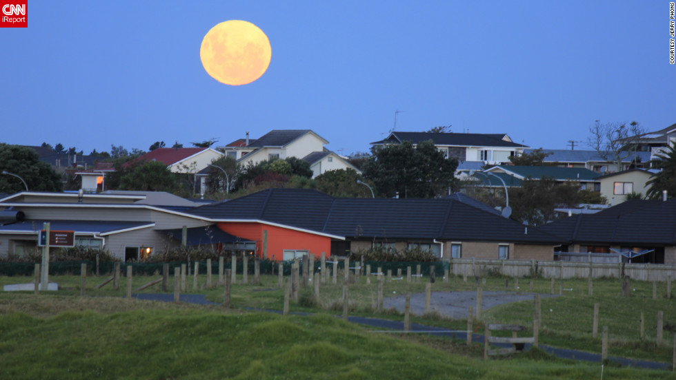 """I went to the farm 30 minutes before the moon rises. It brought forth excitement when the moon started to rise above the suburban skyline,"" iReporter Jerry Phons of New Plymouth, New Zealand, said in May 2012."
