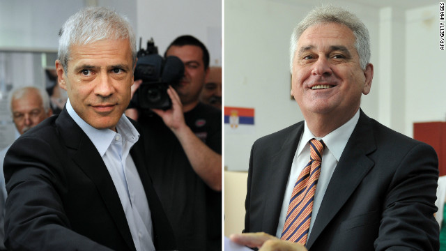 Serbian President and Democratic party leader Boris Tadic, left, and Tomislav Nikolic of the Progressive Party in Belgrade Friday.