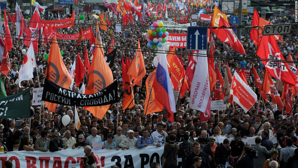 Thousands of Russians march in the country's capital during the latest anti-government demonstration. Putin was recently elected to a six-year term as president.