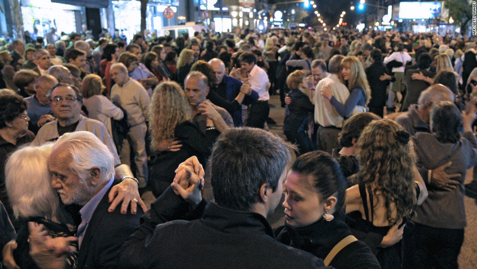 Indeed, it's not uncommon for entire streets to be taken up with couples embraced in the dance. This image was taken in the Boedo neighborhood of Buenos Aires, on the day that the U.N. declared the tango tradition of Argentina and Uruguay a world cultural treasure, adding its sultry dance steps and melancholy song lyrics to UNESCO's heritage list.