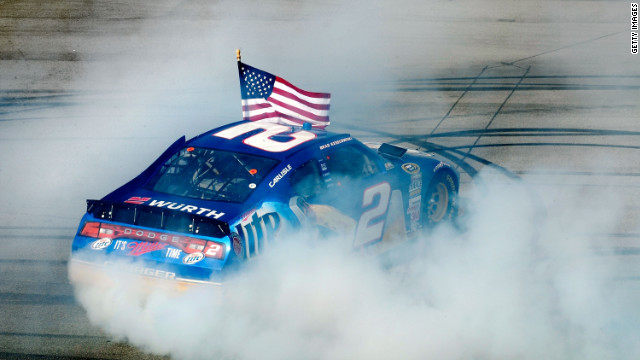 Brad Keselowski, driver of the #2 Miller Lite Dodge, celebrates with a burnout after winning the NASCAR Sprint Cup Series Aaron's 499 at Talladega Superspeedway on May 6, 2012 in Talladega, Alabama.