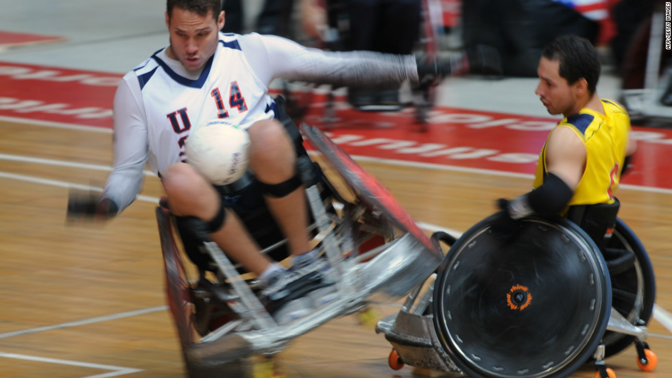 The sport is spreading around the world. Here Joseph Delagrave of the U.S. (left) collides with Colombia's Cristian Torres during the 2011 Pan American championships in Bogota.