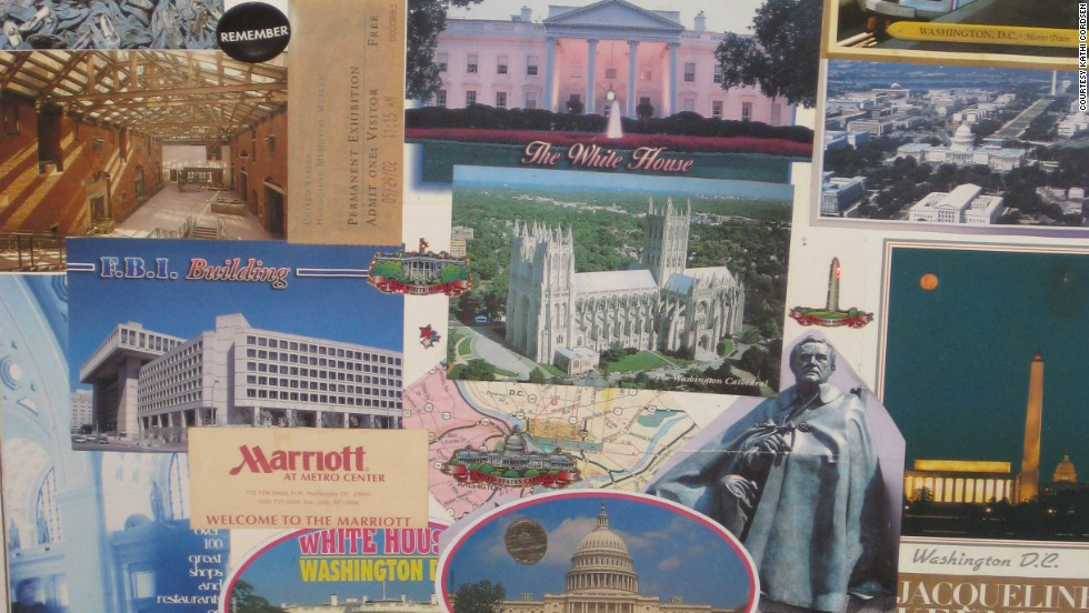 Kathi Cordsen and her mother took a trip to Washington, D.C., for Mother's Day 2002, but forgot a camera. Instead, they picked up postcards, stickers and pins at locations they visited, and Cordsen still has the collage she made to remember all the sites they visited together.