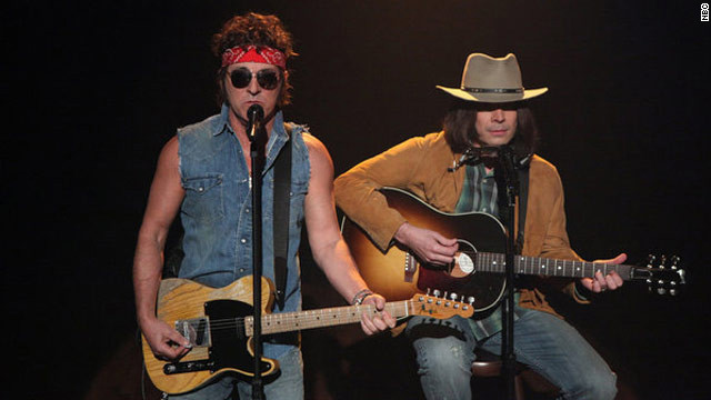 "Bruce Springsteen and Jimmy Fallon, as Neil Young, perform on the March 2, 2012 episode of ""Late Night with Jimmy Fallon."""