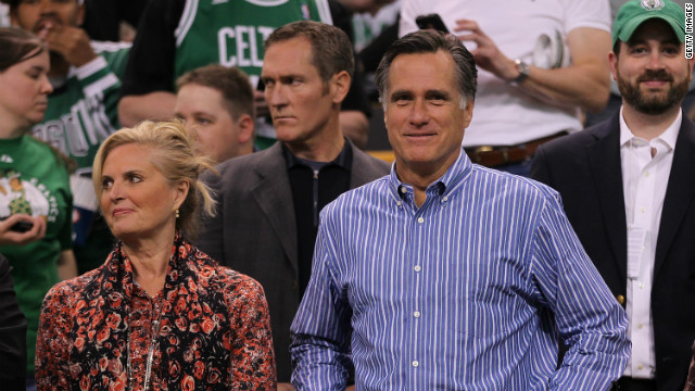 Republican presidential candidate Mitt Romney stands, with his wife Ann, before start of a game between Boston Celtics and the Atlanta Hawks