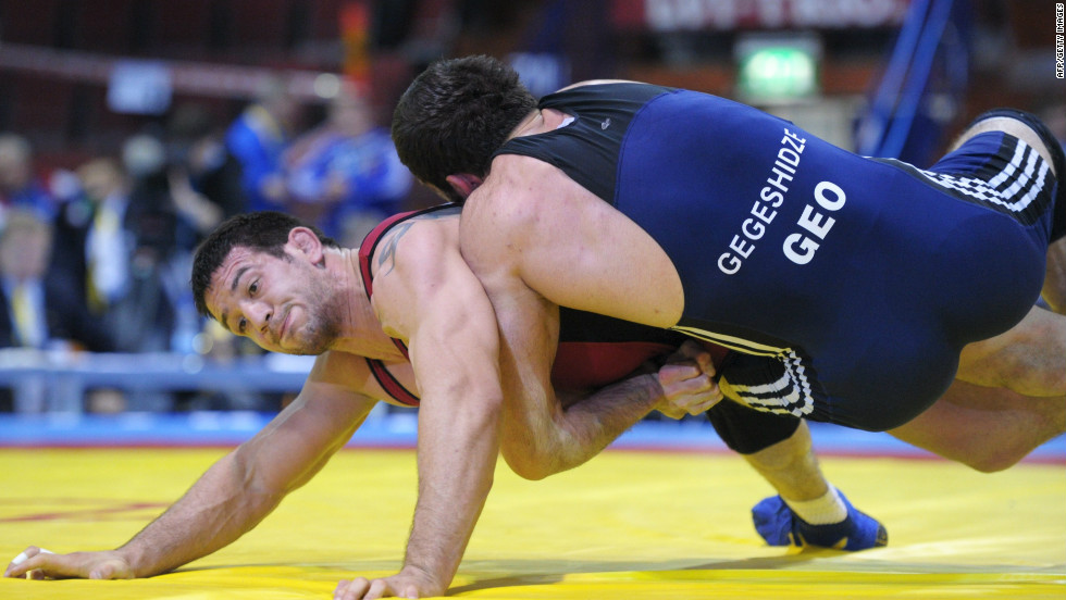 Wrestling has historically been a major sport in the country.  Here, Georgia's Vladimir Gegeshidze (R) competes for the Vantaa Cup 2012, which is also a qualifying tournament for the Olympics.  Georgia has won five Olympic gold medals.