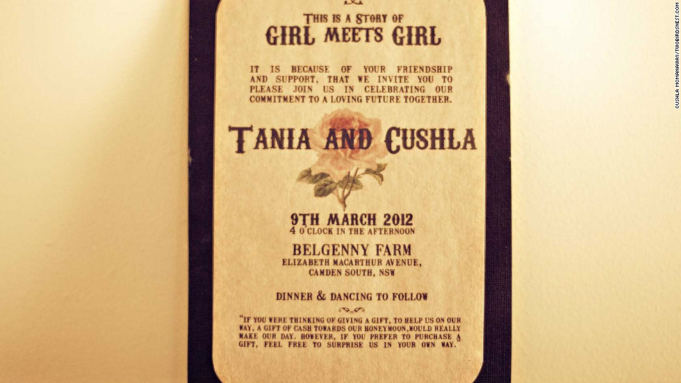"Guests were invited to the event with the words ""this is a story of girl meets girl"" typed in a retro font to fit their theme. <a href=""http://twobirdsnest.com/"" target=""_blank"">Twobirdsnest.com</a>"