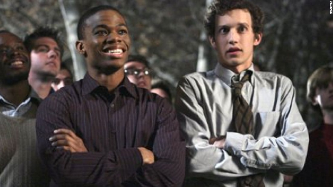 "Calvin Owens, left, played by Paul James, originally struggled to come out to his Omega Chi fraternity brothers on ""Greek,"" which aired on ABC Family from 2007 to 2011."