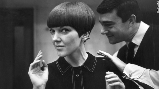 18th November 1964: Clothes designer Mary Quant, one of the leading lights of the British fashion scene in the 1960's, having her hair cut by another fashion icon, hairdresser Vidal Sassoon.