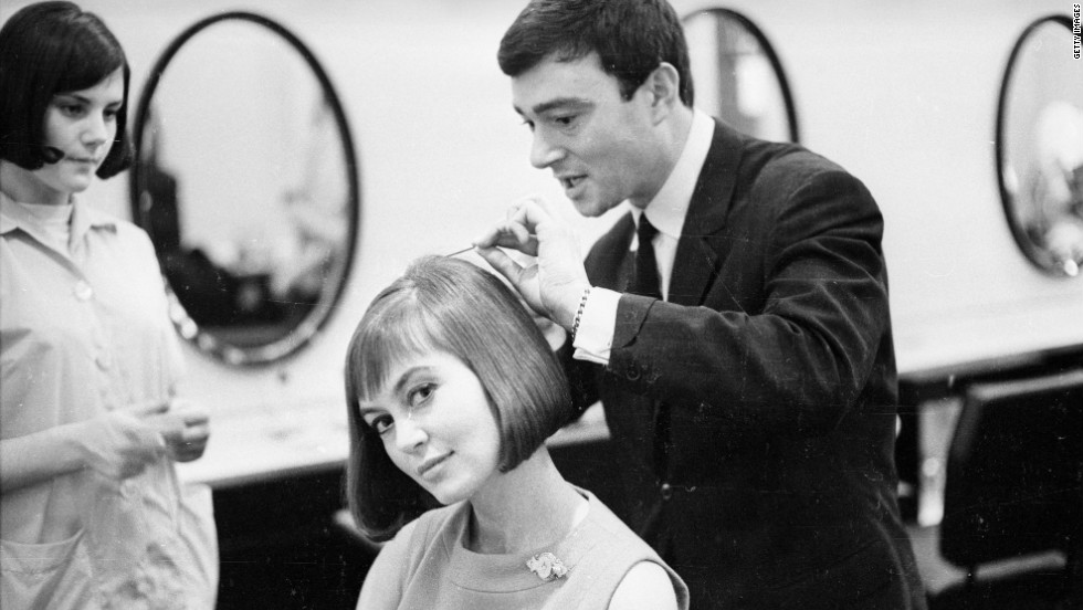 Vidal Sassoonv creates his trademark style 'long bob with a soft fringe' for actress Janette Scott in 1963. The sleek hairstyle succeeded the bouffant styles of the 1950s.
