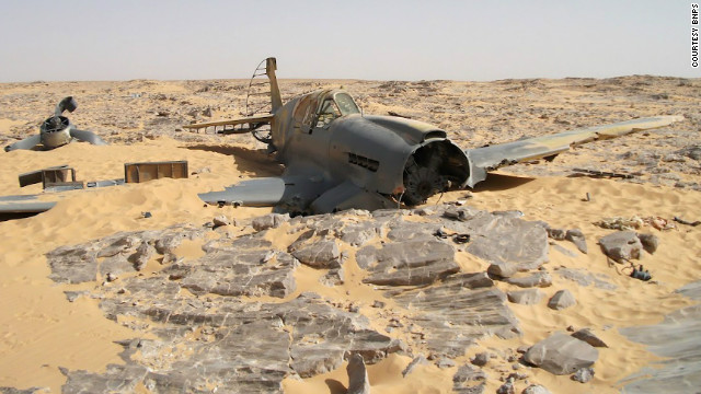 A Royal Air Force P-40 Kittyhawk sits in the Egyptian Sahara. The plane crashed in 1942, and was found in 2012.