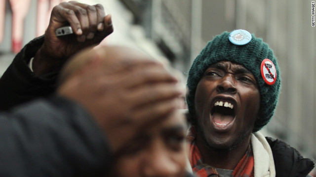 "Opponents of the New York Police Department 's ""stop, question and frisk"" policy march through the Bronx on January 27."
