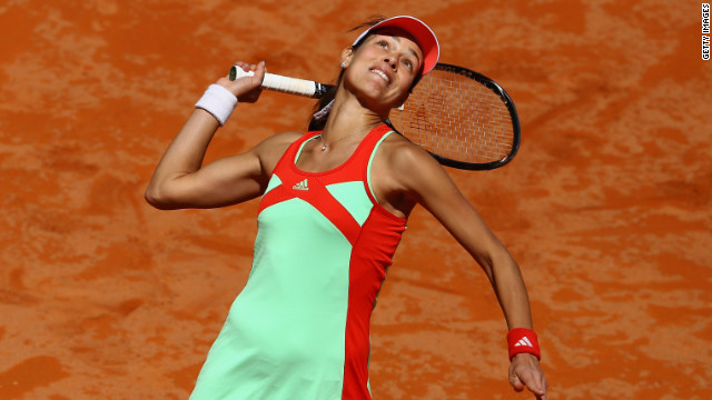 Ana Ivanovic serves during her straight sets victory over Svetlana Kuznetsova at the Italian Open in Rome.