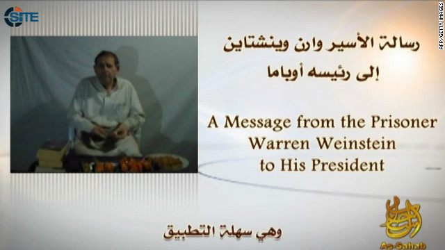 A screengrab shows Warren Weinstein urging U.S. President Barack Obama to answer al-Qaeda's demands or he will be killed.