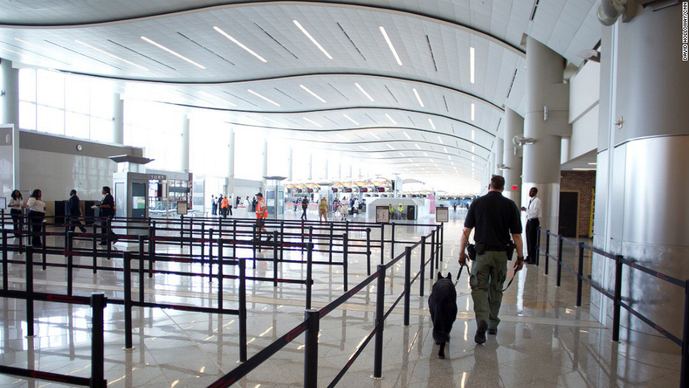 There are eight security checkpoint lanes for international departing passengers.