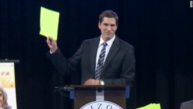 Mitt Romney's son booed off stage