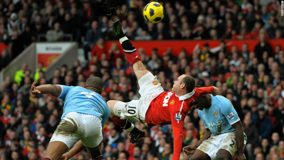 Manchester United striker Wayne Rooney's stunning overhead kick against neighbors Manchester City in February 2011 was named the finest goal in Premier League history.