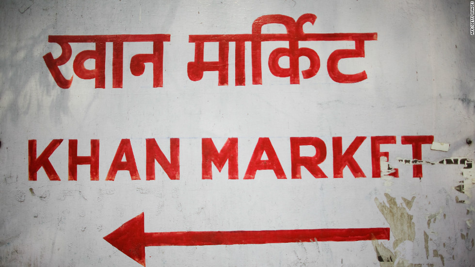 A sign for Khan Market ,written in Hindi and English. It's the most upscale place to shop in New Delhi and is the go-to destination for affluent residents, tourists and expatriates searching for familiar brands.