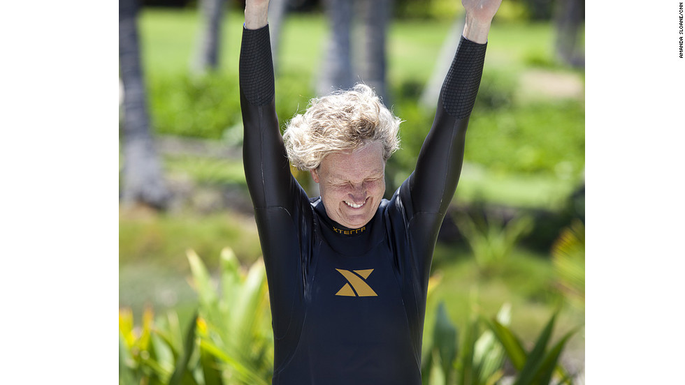 Klinger wins the race for getting into a wetsuit the fastest during the team's first swim workout.