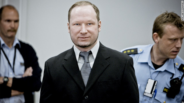 A man set himself alight on Tuesday outside the trial of Anders Breivik.