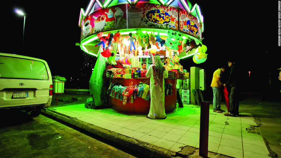 """In his series """"Neonland,"""" artist Saeed Salam explores the bright lights of Jeddah, the Saudi Arabian city where he was born and now lives."""