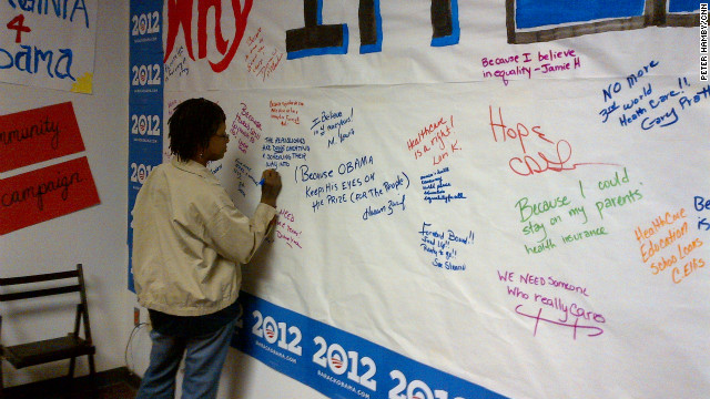 A woman expresses her support for President Obama at his campaign's office in Henrico County, Virginia.