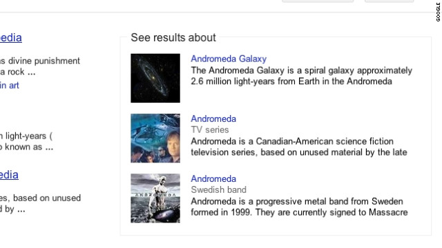 With Knowledge Graph, a Google search will ask if you want the galaxy, TV show or rock band
