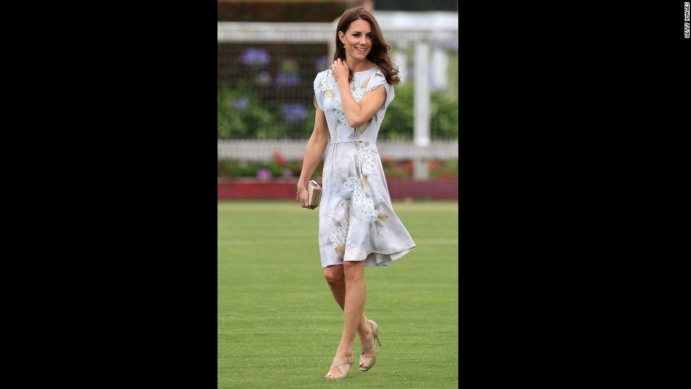 Earlier that day, Kate attended the Foundation Polo Challenge wearing a knee-length, floral Jenny Packham dress.