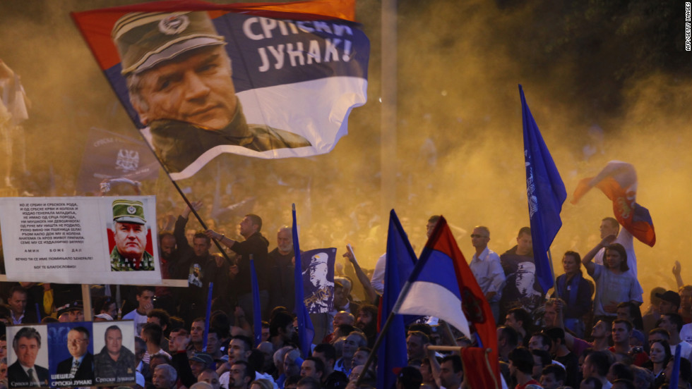 Mladic supporters protest at a rally organized by the ultra-nationalist Serbian Radical Party near parliament in Belgrade in May 2011.