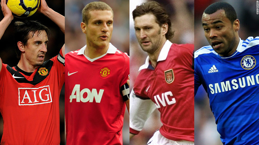 The defense includes two former United captains, with newly-appointed England coach Gary Neville selected at right back alongside Serbia's Nemanja Vidic. Arsenal's title-winning skipper Tony Adams is also included, along with Chelsea and England left back Ashley Cole.