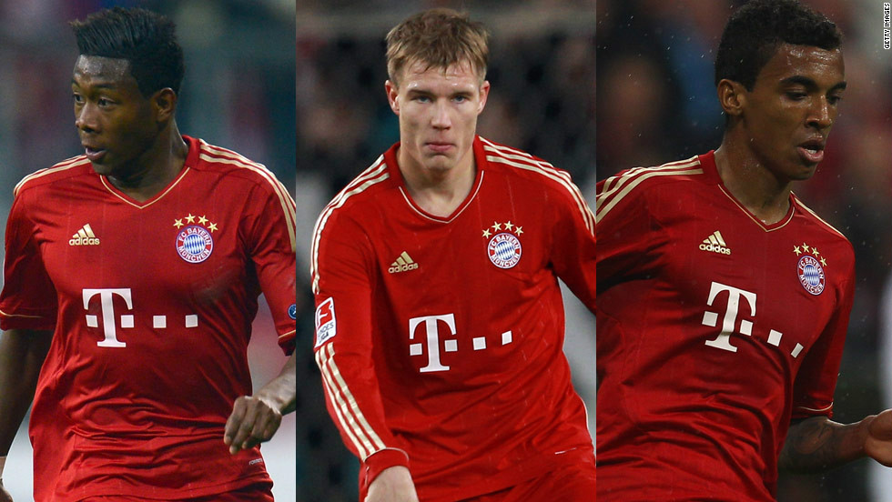Bayern will be without (from left) David Alaba, Holger Badstuber, Luiz Gustavo, as the trio are suspended after being booked in the second leg of the semifinal against Real Madrid.