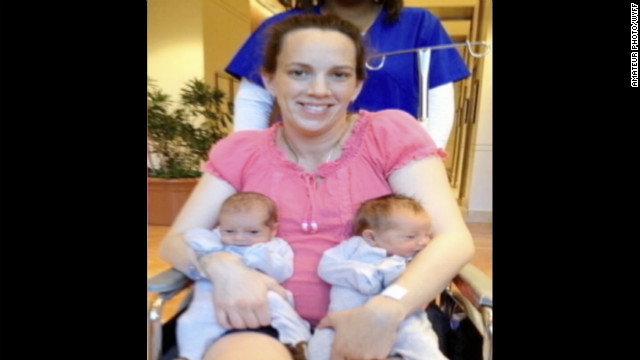 Lana Kuykendall came down with necrotizing fasciitis just four days after giving birth to twins Ian and Abigail.