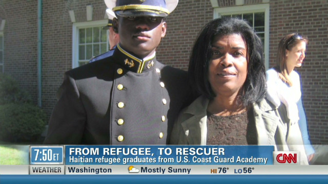 Haitian refugee now a Coast Guard grad