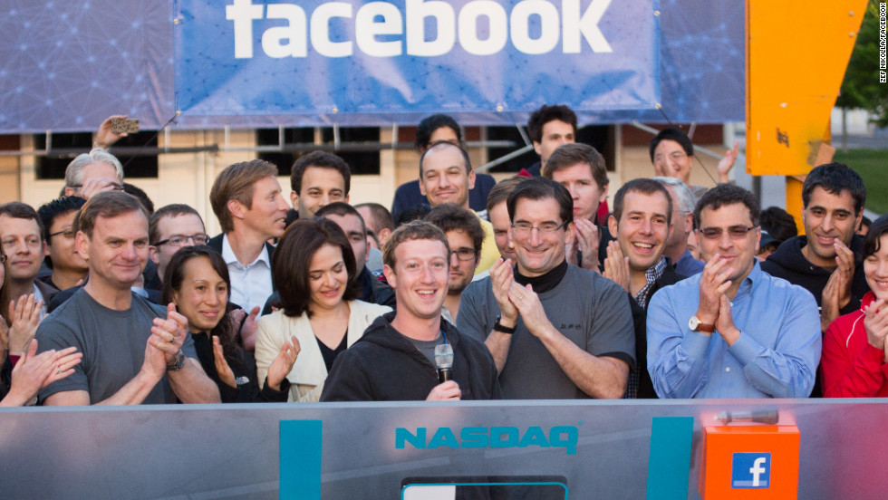 CEO Mark Zuckerberg rings the Nasdaq opening bell Friday morning from Facebook headquarters in Menlo Park, California. Facebook shares are priced at $38 each at opening. At that price, Facebook's IPO will raise $16 billion, making it the largest tech IPO in history.