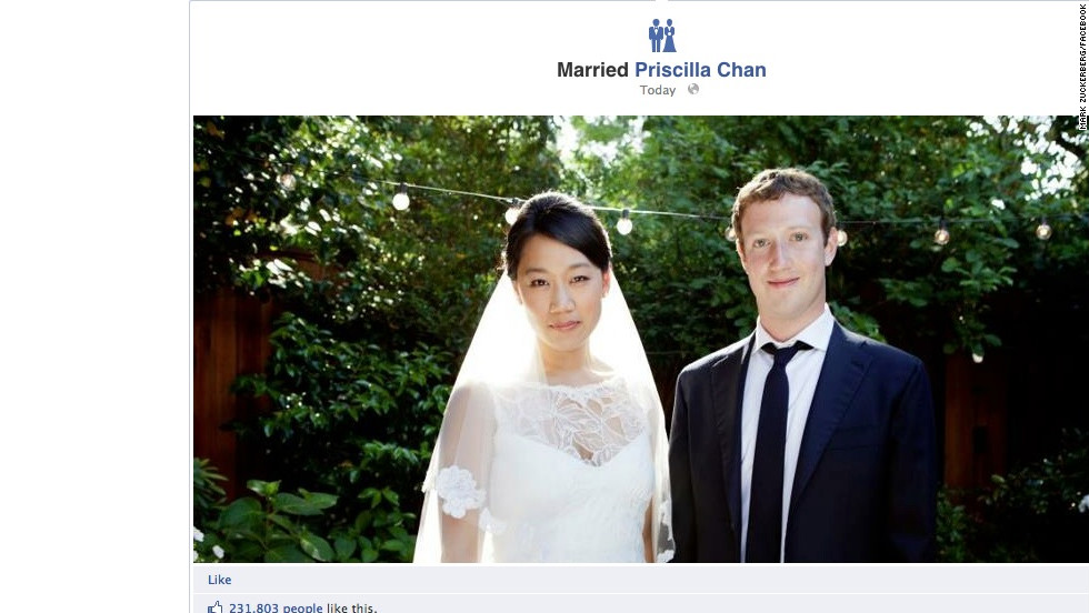 No doubt to her great relief, Zuckerberg dressed up for his wedding to longtime girlfriend Priscilla Chan on May 19, 2012. No word on whether he rented the suit.