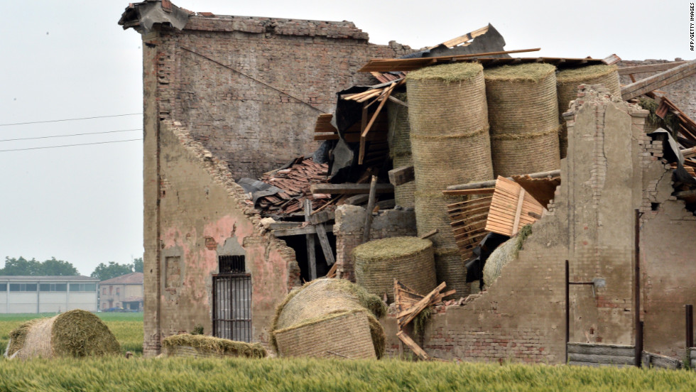 A building in San Felice sul Panaro is damaged following Sunday's earthquake.