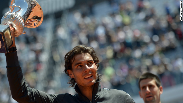 Rafael Nadal moved to number two on the world rankings after beating Novak Djokovic in the final of the Rome Masters.