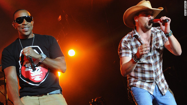 Ludacris joins Jason Aldean onstage at Aaron's Amphitheatre on Friday in Atlanta.