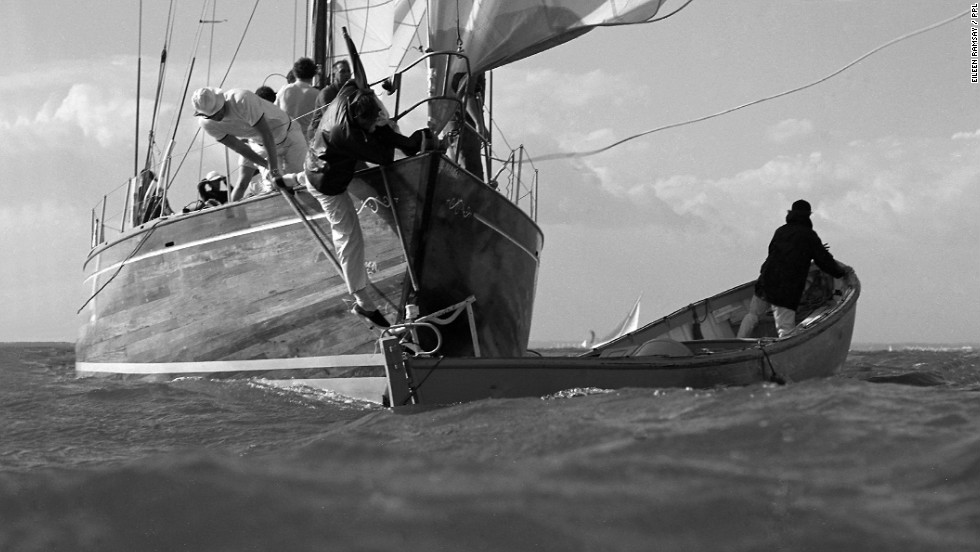 Ramsay would always make sure she placed herself where the action was. Here she manages to catch the collision beween a competing yacht and a spectator boat at the 1969 Cowes Week Regatta in England.