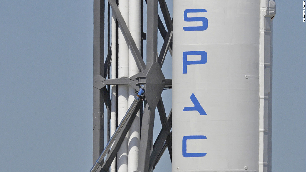 The Falcon 9 rocket awaits May's launch date.