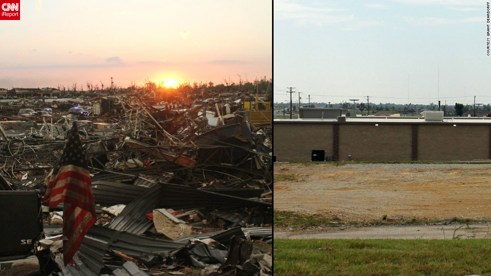 "Deardorff shot the photo on the left from behind the Aldi grocery store. A year later, the back of a new store is ""a ho-hum picture"" but speaks volumes about how far the town has come, he said."