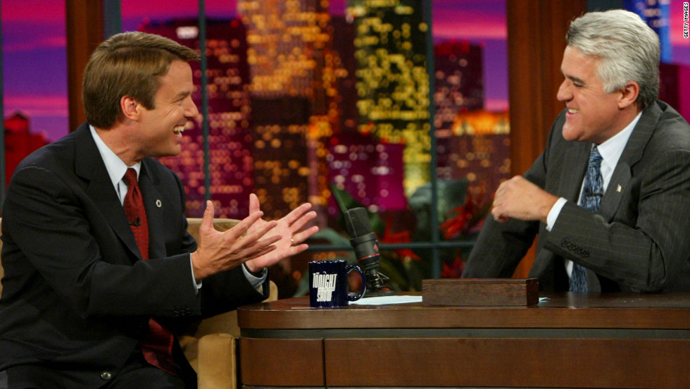 """Edwards appears on """"The Tonight Show With Jay Leno"""" in October 2004."""