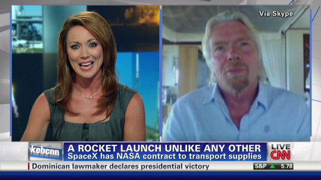 Richard Branson talks SpaceX launch