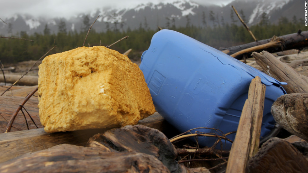 "Much of the debris can be found on remote islands like Montague Island in the Prince William Sound, which is accessible only by boat or plane. Chris Pallister, who runs a non-profit dedicated to keeping Alaska's coastline clean, says he's never seen some kinds of this of debris before, including this yellow urethane spray building foam insulation. ""Acres of these things (were) just stacked up before the tsunami (in Japan),"" Pallister said of the insulation.  ""Those yards are empty now and this is where they all are."""
