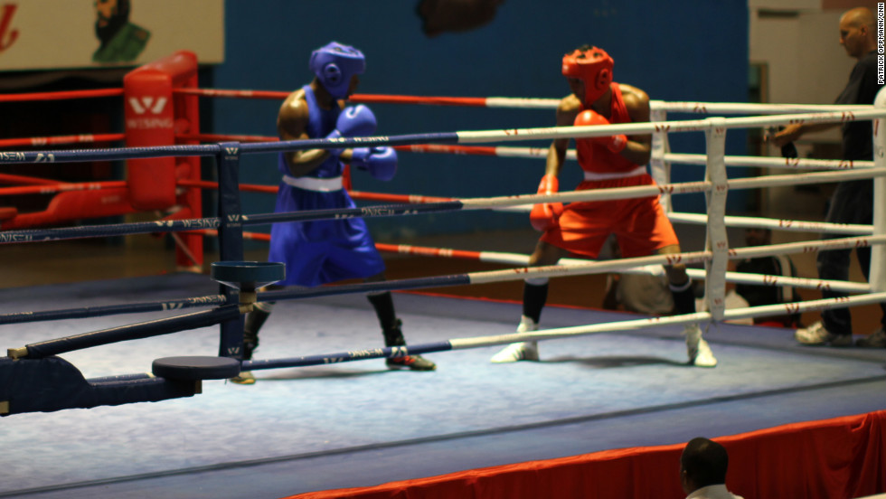 Boxers in Cuba fight at an exhibition match on May 10, 2012. Despite the fact that fighters cannot compete professionally, the country has consistently produced world-class boxers.